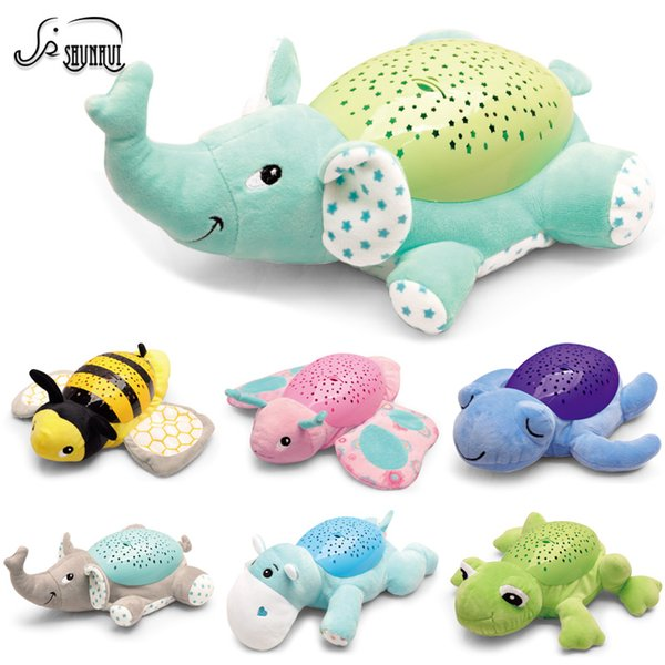 Baby Sleep LED Lighting Stuffed Animal Led Night Lamp Plush Toys with Music & Stars Projector Light Baby Toys for Girls Children