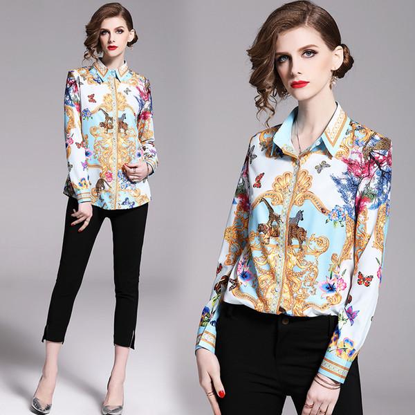 Real Estilo vintage Blusa Mujeres Primavera Otoño diseño de lujo de la solapa del cuello de la impresión floral de invierno más el tamaño de tapas de señora de la oficina delgado camisas de manga larga