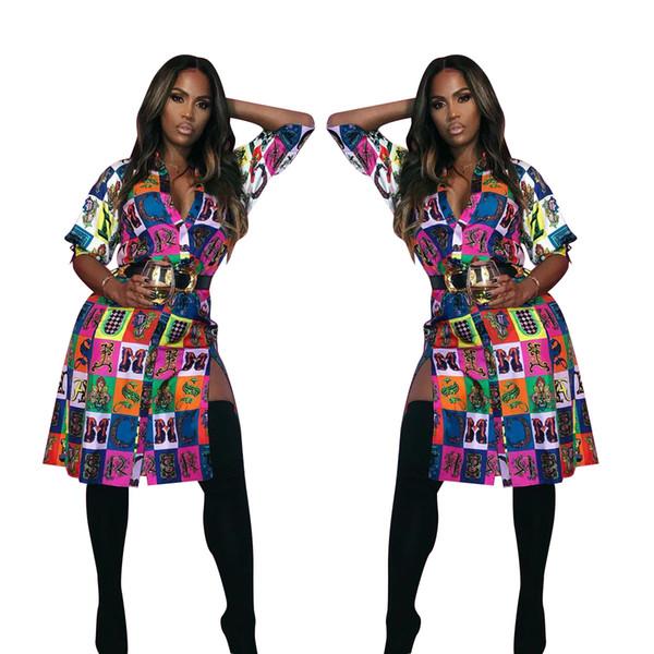 2019 moda stampa digitale camicia donna abiti maniche a 3/4 bavero collo pulsante lato Split sexy party club notte fuori vestito immagini reali