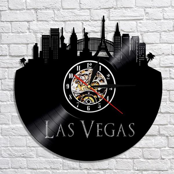 1 peça las vegas cidade relógio de parede registro de vinil do vintage deserto casino eua grande skyline da cidade arte da parede relógio de viagem presente