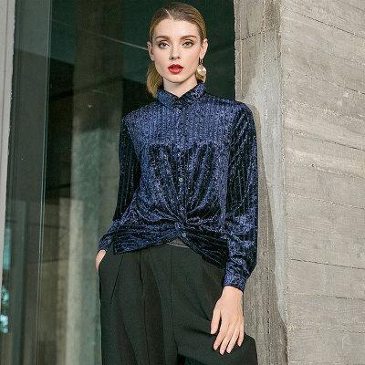Femmes Anomalistic Casual Commuter Chemises Dames Tempérament De Mode Revers Velours Shirt Ol À Manches Longues Blouse Shirt