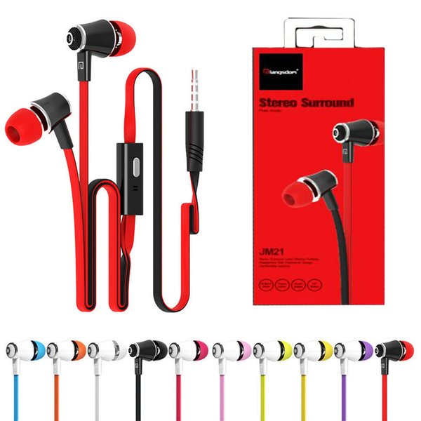 JM21 In Ear Phone Earphone With Micphone Colorful Headset Hifi Earbuds Bass Earphone For iPhone 6 Samsung LG with Retail Package