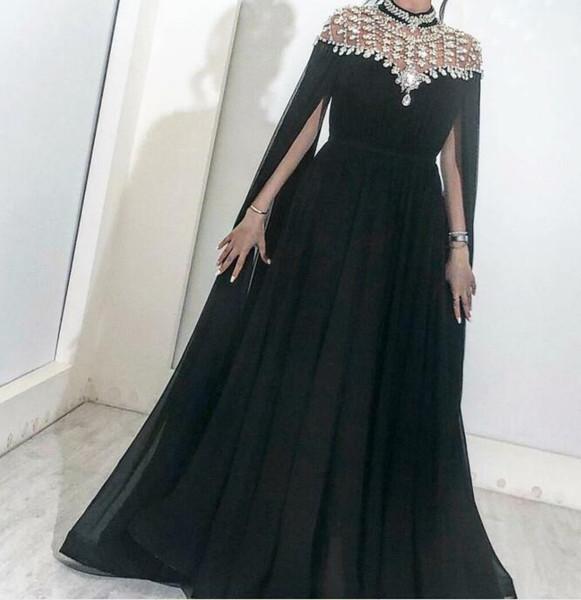 Evening dress A-Line High Collar Long Sleeve Chiffon Crystal Black Classic Customizable in any size Modern 1 Customizable