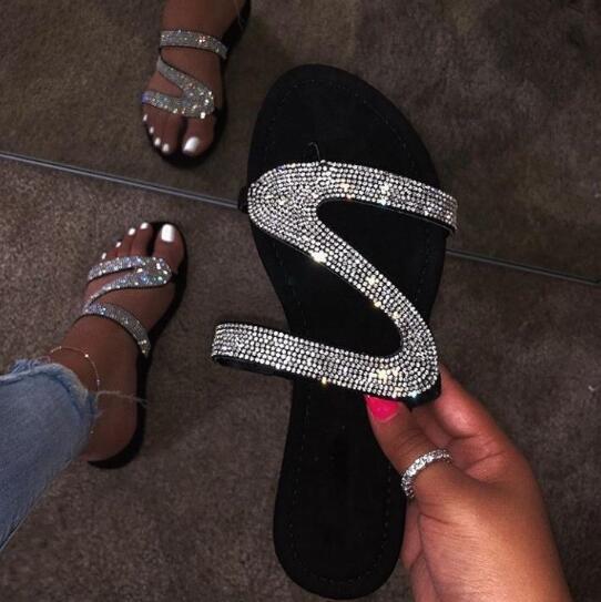 nouvelles femmes de la mode des femmes sauvages chaussures strass sandales plates pantoufles chaussures de plage grande taille 36-42