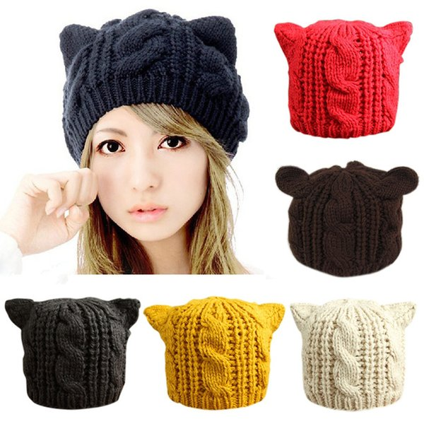 Lovely Cat Ears Hat Beanie Women Warm Solid Color Hip-hop Cap Lady Girls Cute Winter Knitted Skullies Beanies Casual Wool Caps S18120302