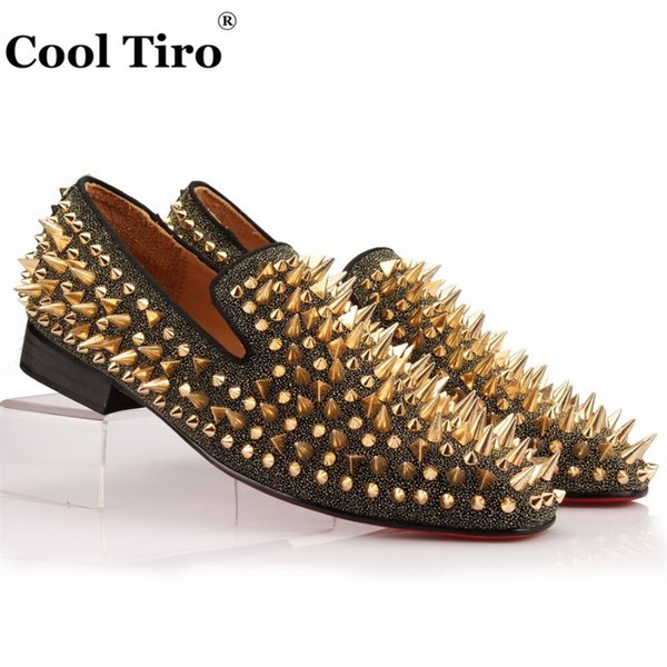 COOL TIRO Studs Red Bottom Loafers Men Flats With Spikes and Diamonds Glitter Slipper Shoes Black Genuine Leather Wedding Dress #313520
