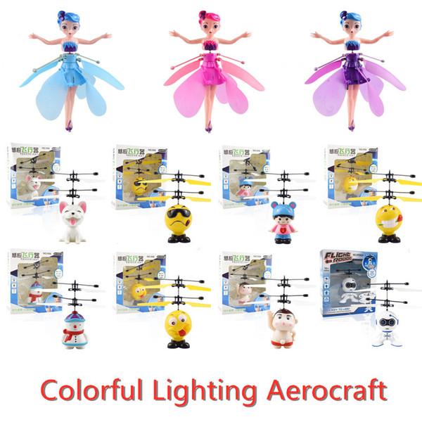 Colorful LED Illuminazione Aerocraft Fata del robot RC Giocattoli di ricarica USB intelligenti Irritabilità controllo delle mosche Giocattoli per bambini da regalo molti stili