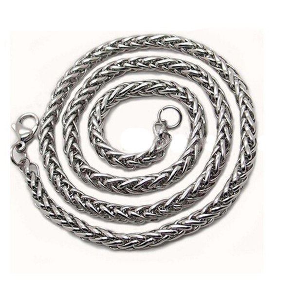 """3//4//5//6MM 18-36/""""  MENS Silver Stainless Steel Wheat Braided Chain Necklace New"""