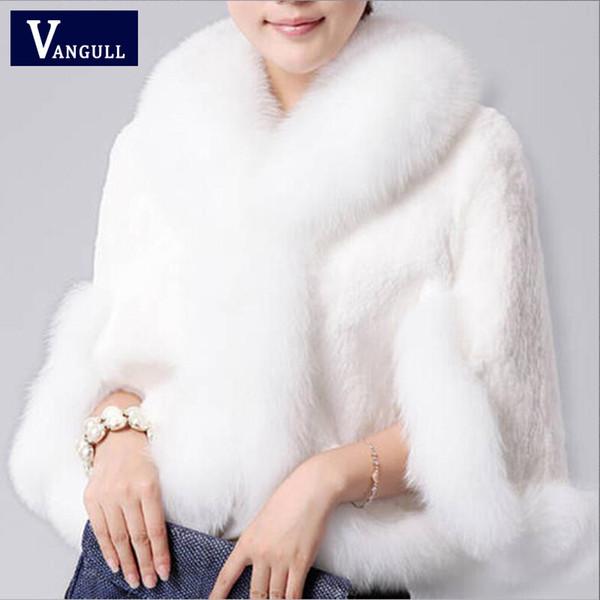 2017 New Fur Faux Coat Visone Capelli Rex Rabbit Capelli Capo Giacca Nero Bianco Pelliccia Soprabito Imitazione Pelliccia di Coniglio Faux Collare di Volpe Xxxl T4190610