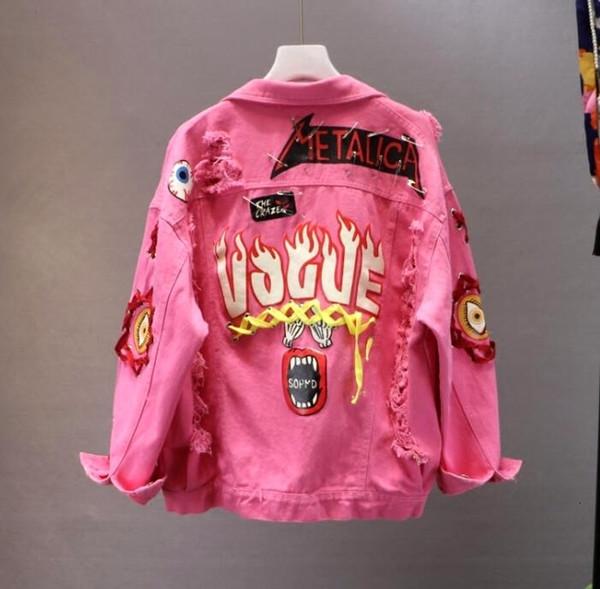 Rosso / Giallo Jeans Jacket Graffiti Alphabet Lace Stampa Bow Pin Hole Giacca di jeans Student cappotto di base SH190926 delle nuove donne della molla di autunno