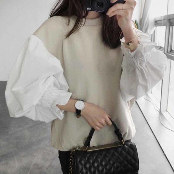 Autumn Fashion New Round Neck Lantern Sleeve Women's Split Joint Short Sweatshirt Japan And South Korea Tops