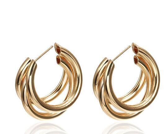 126 Hot Sale New Fashion Trend Earrings 2019 Brincos Oorbellen Simple Metal Wind Letter Round Shape Hoop Earrings For Women Gift