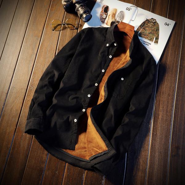 Men's casual fashion shirt / plus velvet thick corduroy shirt long-sleeved