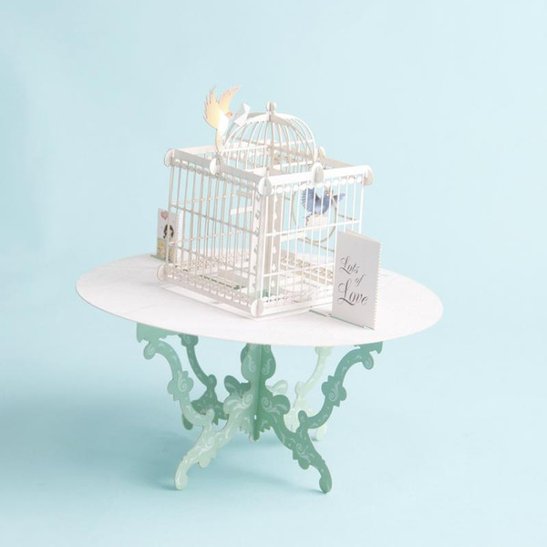 1pc up 3d greeting card table bird cage patern happy birthday love gift greeting card desk decor wedding postcard gift craft
