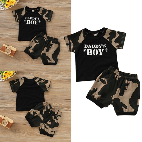 HEISSES Kleinkind scherzt Jungen-Kleidungs-Ausstattungs-Satz-kurze DADDY'S BOY Letter T-Shirt Hosen