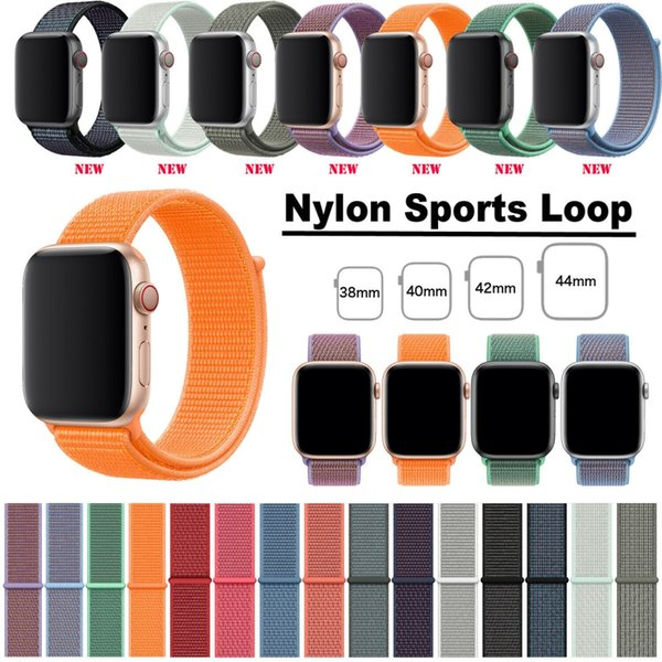 For Apple Watch Band 40mm 44mm Nylon Soft Breathable Sport Loop Adjustable Closure Wrist Strap for iWatch Series 4 3 2 1