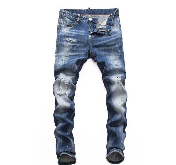 19ss mens jeans di lusso firmati pantaloni strappati neri il miglior biker di alta qualità Italia del marchio di moda versione moto Rock Revival