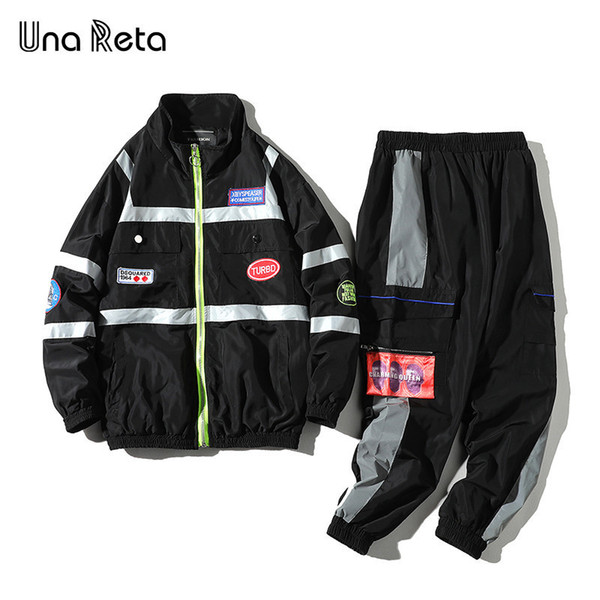 Una Lover 2 Piece Tuta da uomo New Spring e Autumn Splicing Streetwear Jacket + pant Set Hip Hop Sport Tuta C19041601