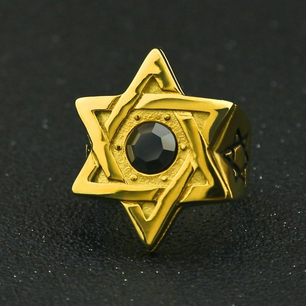 Hiphop Star of David Gold Rings For Men Top Quality Stainless Steel Stone Ring Fashion Hip Hop Jewelry DJ Party Accesssories