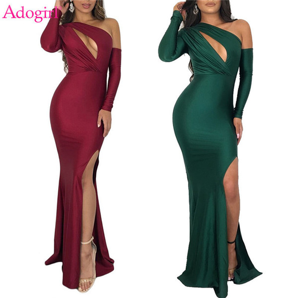 Adogirl Women Sexy Evening Party Dresses Hollow Out One Shoulder Long Sleeve High Slit Bodycon Maxi Dress Night Club Outfits Q190521