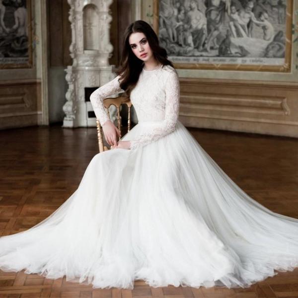 Abiti da sposa bianchi modesti 2019 maniche lunghe gioiello collo pizzo drappeggiato tulle arabo islamico vintage illusion plus size abito da sposa