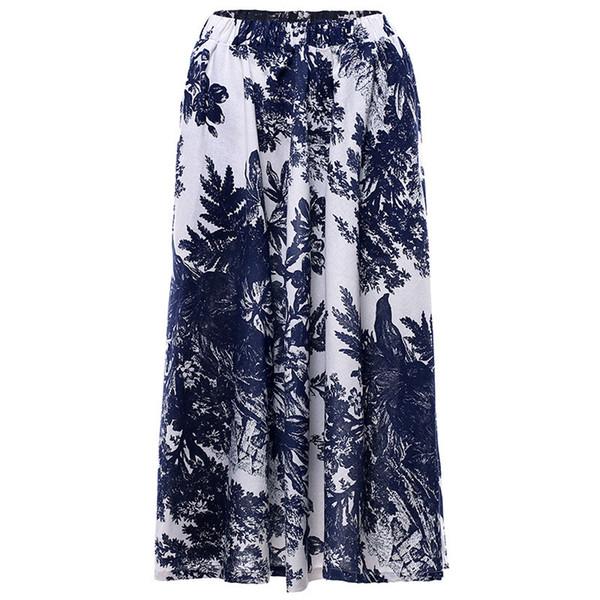 Summer Vintage Womens Bohemia Skirts Cotton Linen Floral Printed Waist Elastic Medium Skirt Lady Skirt Send Soon Y19043002