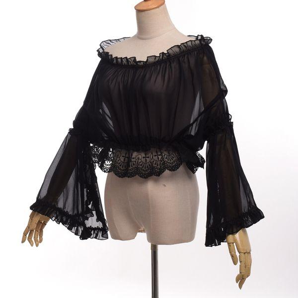 Süße Damen Frauen Spitze Chiffon Bluse Lolita Flare Sleeve Schulter-off Crop Tops Shirt Tops Weiß / Rosa / Schwarz