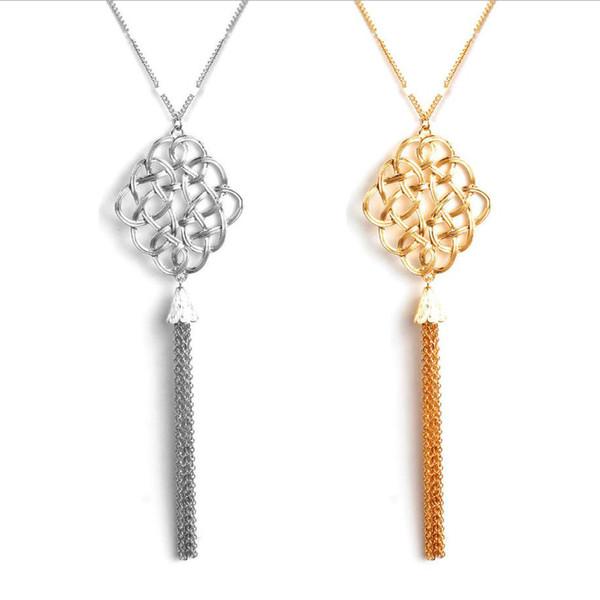 Lange Anhänger weater Halskette Irish Knoten mit Quaste Anhänger Kette Silber Goldfarbe überzogen verlängern Frauen Halskette Geschenk