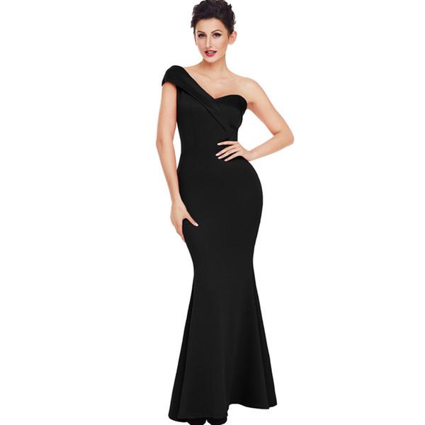 2019 Vestidos de um ombro Sexy mangas Backless Sereia até o chão Vestidos de baile Vestidos de noite Vestido de dama de honra Vestido de baile
