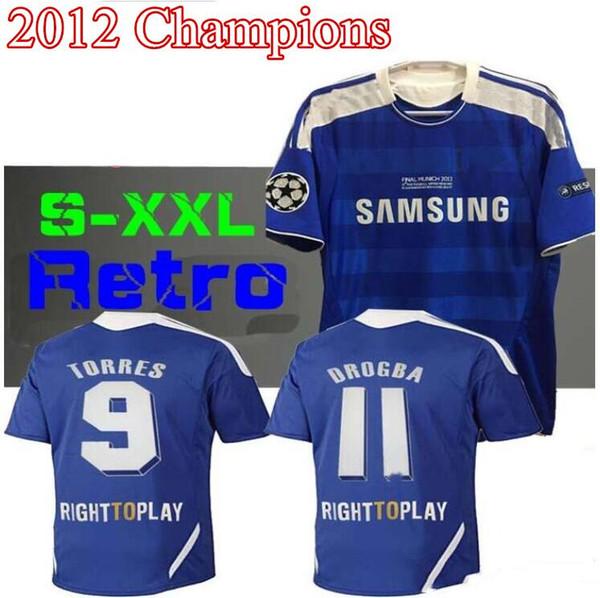 2011 2012 TORRES 9 MATA 10 retro futbol forması Lampard 11 12 Drogba 11 futbol gömlekleri terry 26 Klasik Futbol Gömlek Maillot de Foot