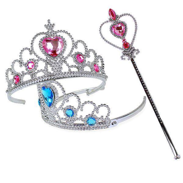 Девушки 2 шт. / компл. Принцесса тиара аксессуары дети алмазные короны + волшебные палочки девушка Рождественская вечеринка подарок фестиваль