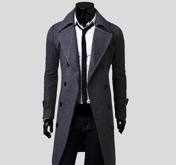 Toptan-2016 Yeni Erkek Trençkot İnce Erkek Uzun ceketler Ve Coats Palto Çift Breasted Trençkot Erkekler Windproof Kış Kabanlar