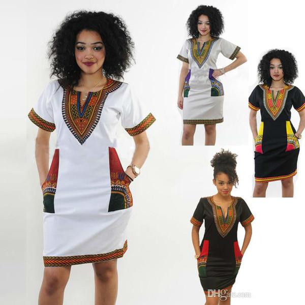 Kadınlar Için afrika Elbiseler Hint Baskı Artı Boyutu Dashiki Giyim Robe Femme Boho Dashiki Kumaş Yaz Seksi Hippi