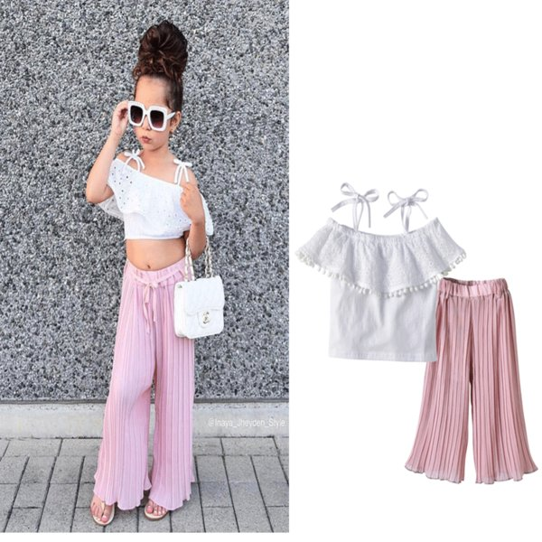 Baby Girls Sets Kids Summer Fashion White Lace Sling Top + Pink Arrugas Flare Pantalones 2pcs Conjunto Ropa de niños