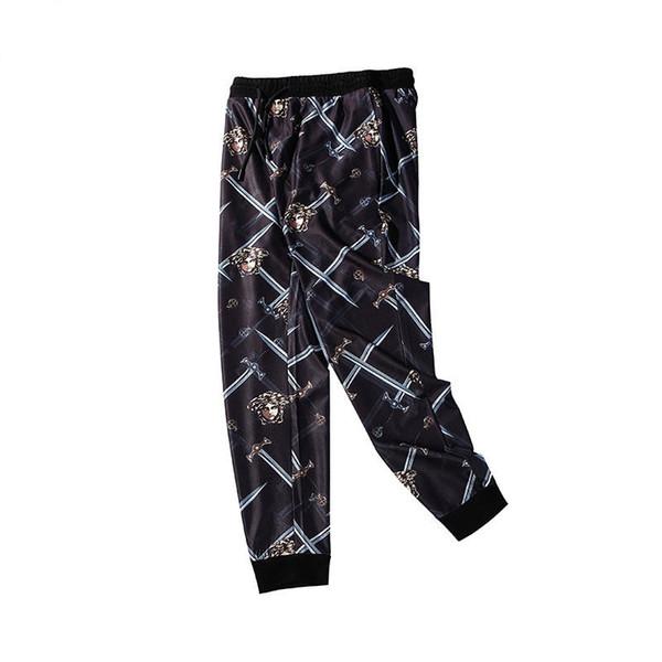 Tasarımcı Parça Pantolon Medusa Ile Mens Casual Marka Fermuar Mektuplar Heykel Baskı Mavi Ekose Pantolon Moda Streetwear Mens Lüks Pantolon