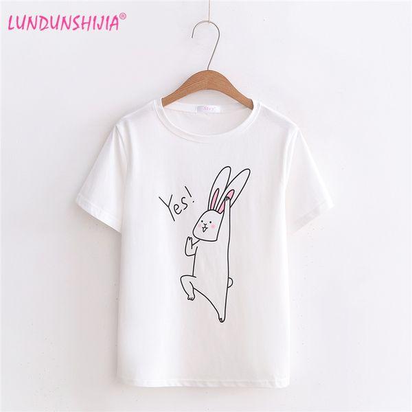 LUNDUNSHIJIA 2018 Nuovo arrivo Estate T-Shirt da donna O-Collo Harajuku Soft Tee Coniglio Top stampati Moda T-shirt femminile