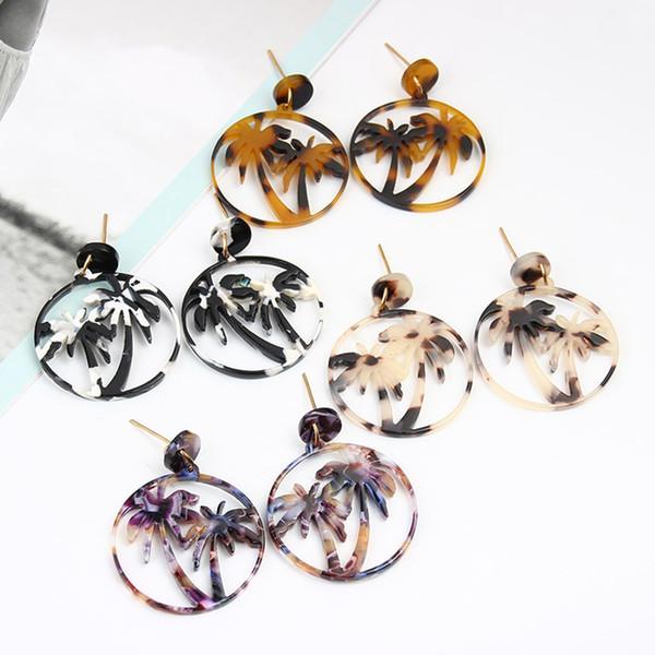 Vintage Coconut Palm Women Earrings Femme Alloy Acetate Plate Eardrops Girlish Ear Stud Jewelry