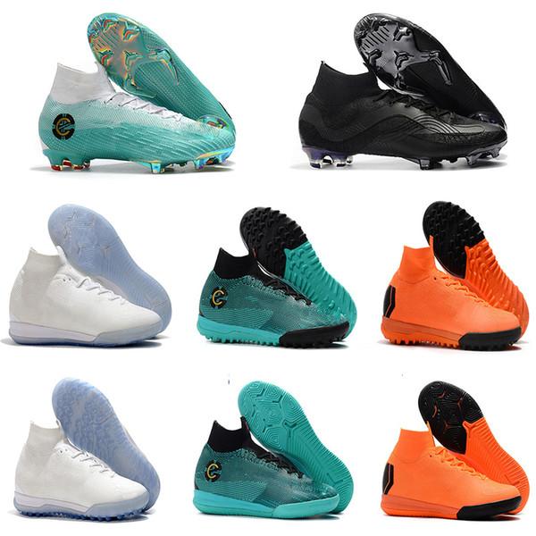 2018 Mercurial Superfly VI 360 Elite FG KJ 6 XII 12 CR7 Ronaldo Neymar Mens Women Boys Soccer Shoes 20th Football Boots Cleats us3-us12