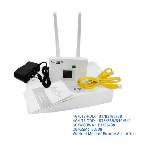 Routeur sans fil CPE 4G Wifi Passerelle portable FDD TDD LTE WCDMA GSM Déverrouillage global des antennes externes Emplacement pour carte SIM Port WAN LAN