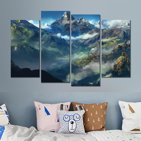 4 sets still life far cry himalayas canvas print arts pictures for dining room decor