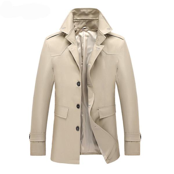 MORUANCLE Hommes De La Mode Trench-Coat Style Britannique Pardessus Mâle Printemps Automne Coupe-Vent Survêtement Couleur Unie Poitrine