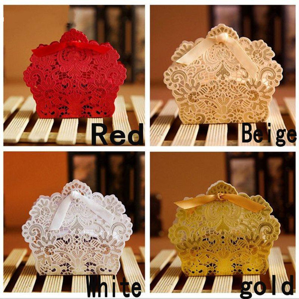 Laser Cut Hollow Lace Flower White Gold Red Candy Box Luxury Wedding Party Sweets Candy Gift Favour Favors Boxes