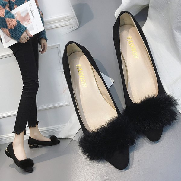 Season Honor2019 Annual Women's Shoes Shallow Mouth Velvet Noodles Sharp Low Square With Rubber Sleeve Foot Will Code