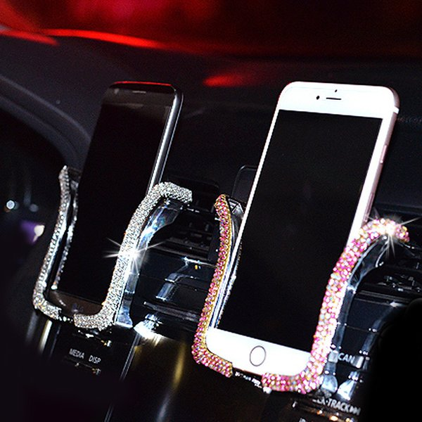 Universal With Bing Crystal Rhinestone Air Vent Mount Clip Cell Phone For Iphone Samsung Car Holder Lowest pricelow price