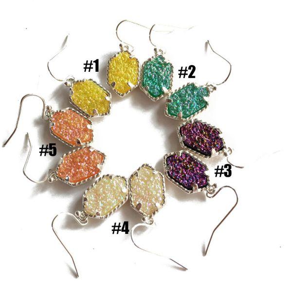 New style 5 color special Kupfer Qualität Silber Krallen Ohrringe Farbe Beschichtung Effekt Carbon Stein-Effekt