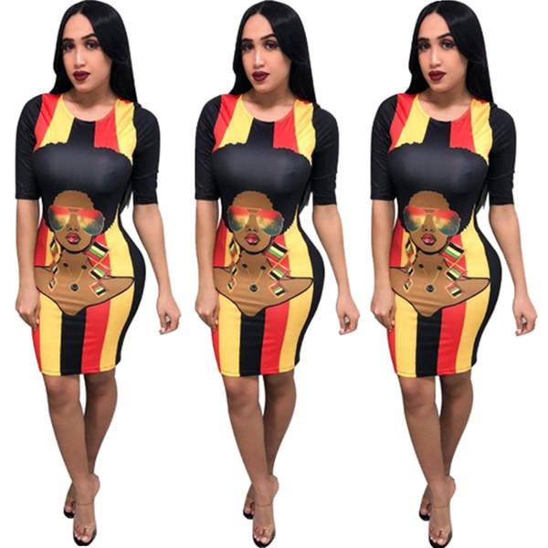 Karikatür Gökkuşağı Çizgili Bodycon Elbise Yaz Kadın Tasarımcı Kalem Elbise