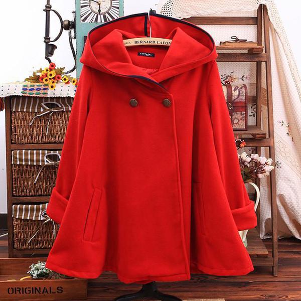 New Autumn female cloak jacket winter women cotton Hooded Woolen coat Long sleeve Casual Wool cloak Overcoat