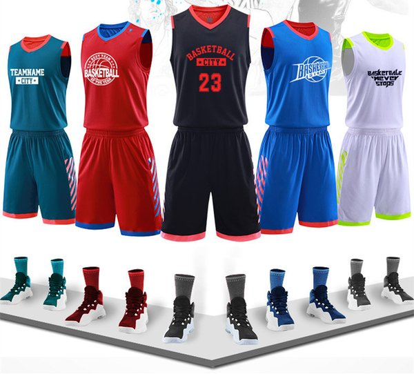Hot selling New basketball uniform suit Youth group competition training team uniform custom, custom vest shorts sports jersey