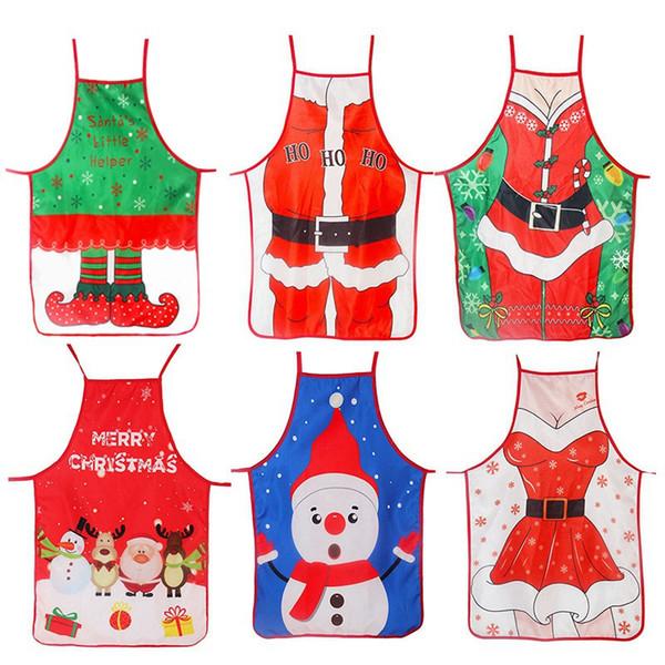 Adulti di Natale Grembiule Signora della Santa ha stampato il fumetto sveglio Grembiule puntelli della decorazione di Natale per gli attrezzi da cucina HHA799