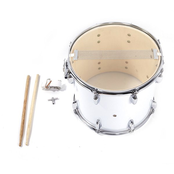 """best selling 14""""x10""""Stainless Steel & Wood Marching Snare Drum Percussion Poplar Silver"""